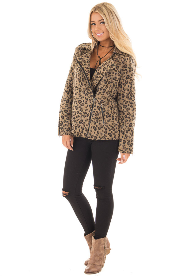 Leopard Print Jacket with Asymmetrical Zipper front full body