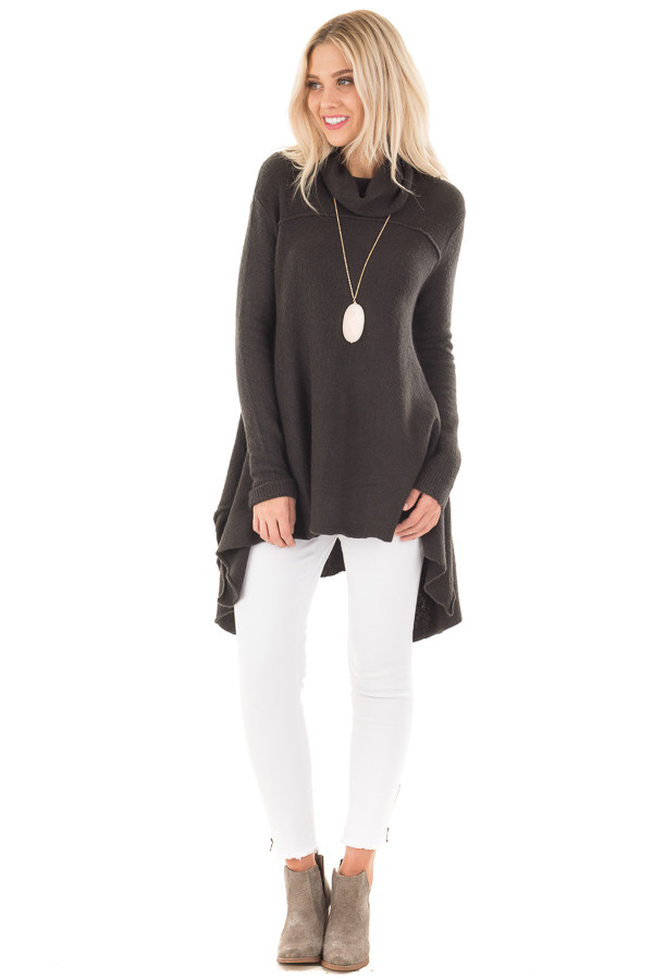Ash Grey Knit A Line Cowl Neck Sweater front full body