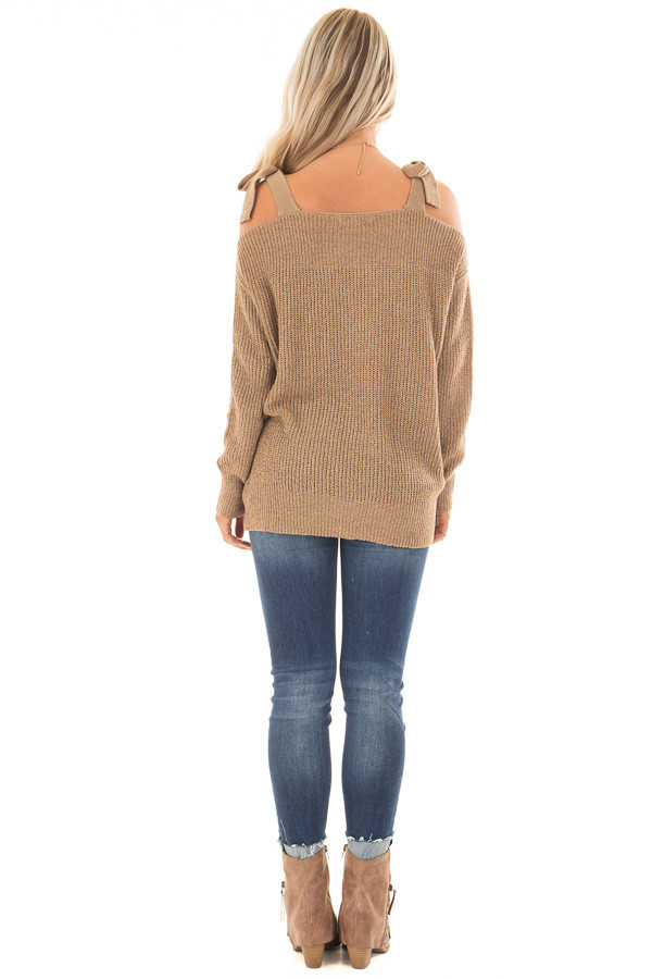 Tan Long Sleeve Sweater with Cold Shoulder Tie Details back full body