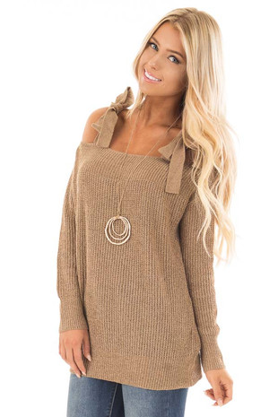 Tan Long Sleeve Sweater with Cold Shoulder Tie Details front close up