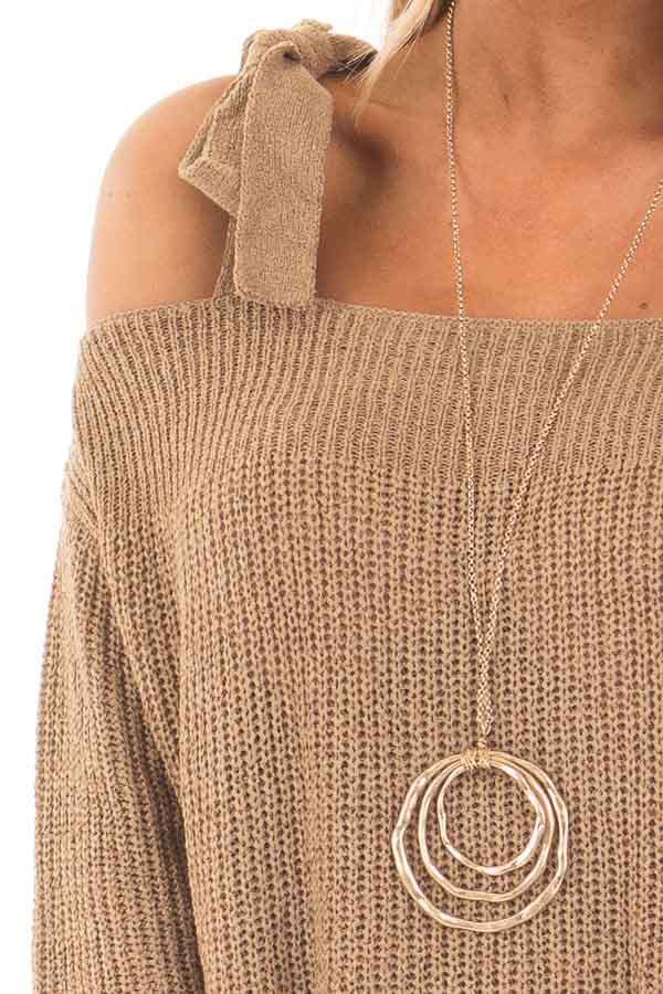 Tan Long Sleeve Sweater with Cold Shoulder Tie Details detail