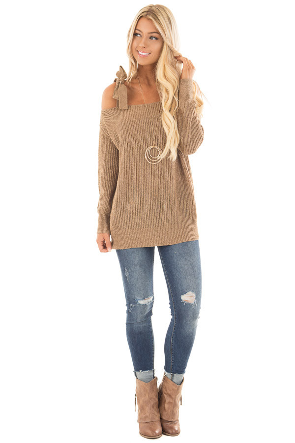 Tan Long Sleeve Sweater with Cold Shoulder Tie Details front full body