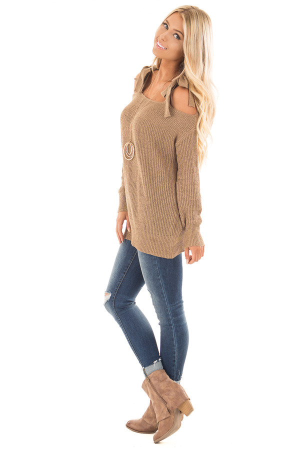 Tan Long Sleeve Sweater with Cold Shoulder Tie Details side full body