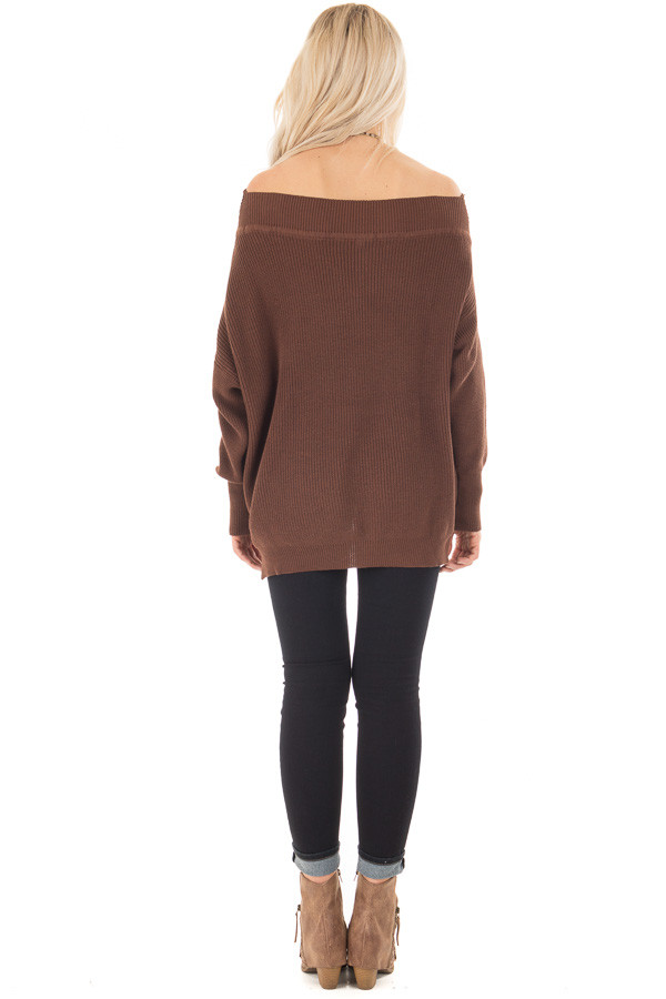 Chocolate Off the Shoulder Long Sleeve Sweater back full body