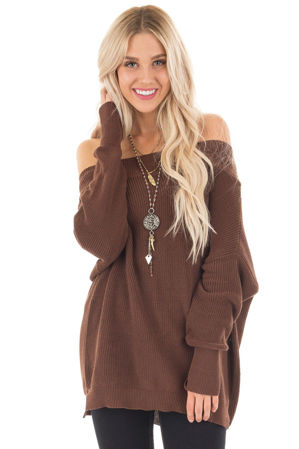 Chocolate Off the Shoulder Long Sleeve Sweater | Lime Lush