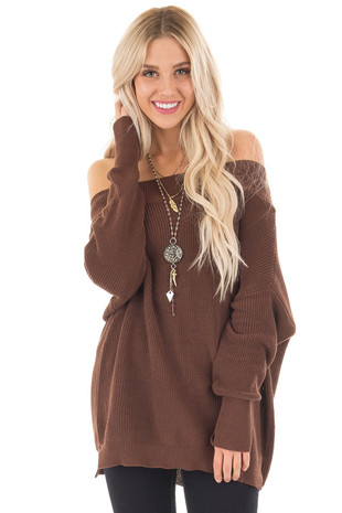 Chocolate Off the Shoulder Long Sleeve Sweater front close up