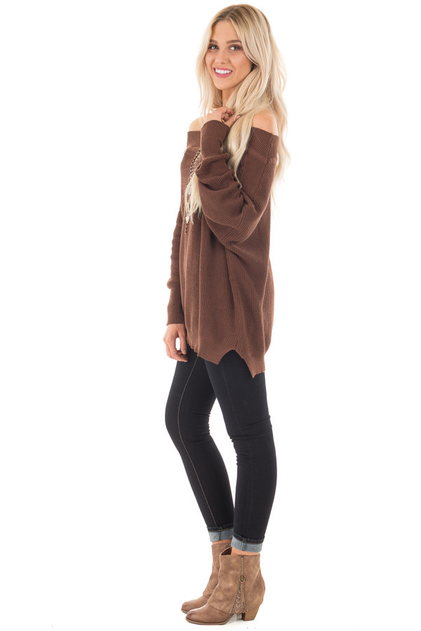 Chocolate Off the Shoulder Long Sleeve Sweater side full body