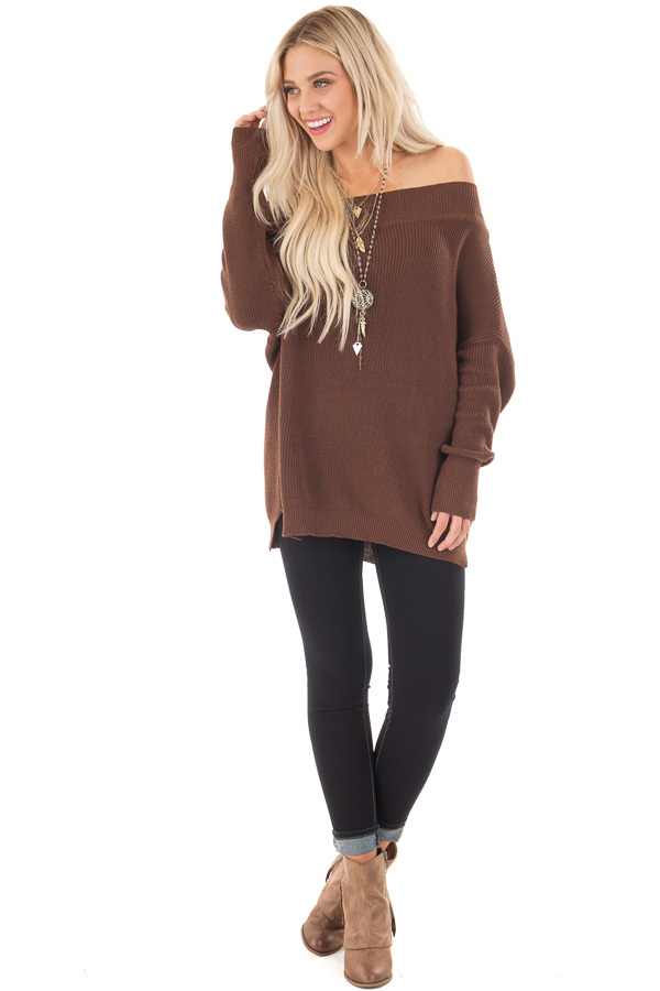 Chocolate Off the Shoulder Long Sleeve Sweater front full body