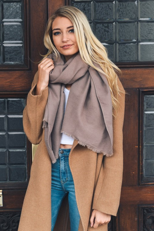 Mocha Solid Blanket Scarf with Frayed Edge front full body