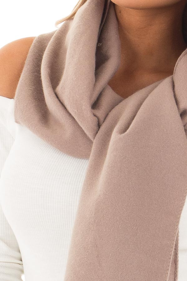 Mocha Solid Blanket Scarf with Frayed Edge detail