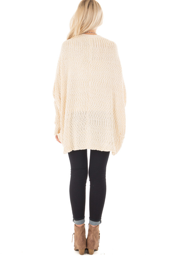 Cream Knit Cardigan with Dolman Sleeves and Pockets back full body