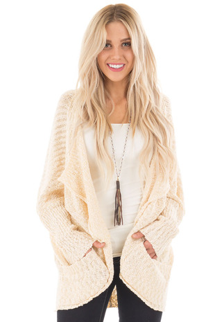 Cream Knit Cardigan with Dolman Sleeves and Pockets front close up