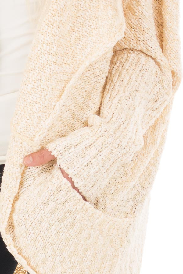Cream Knit Cardigan with Dolman Sleeves and Pockets detail