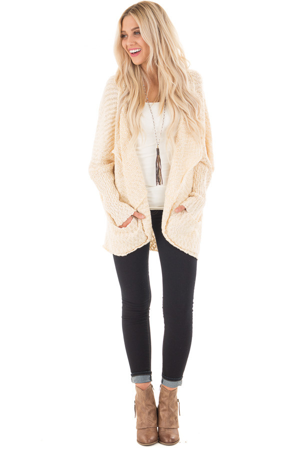 Cream Knit Cardigan with Dolman Sleeves and Pockets front full body