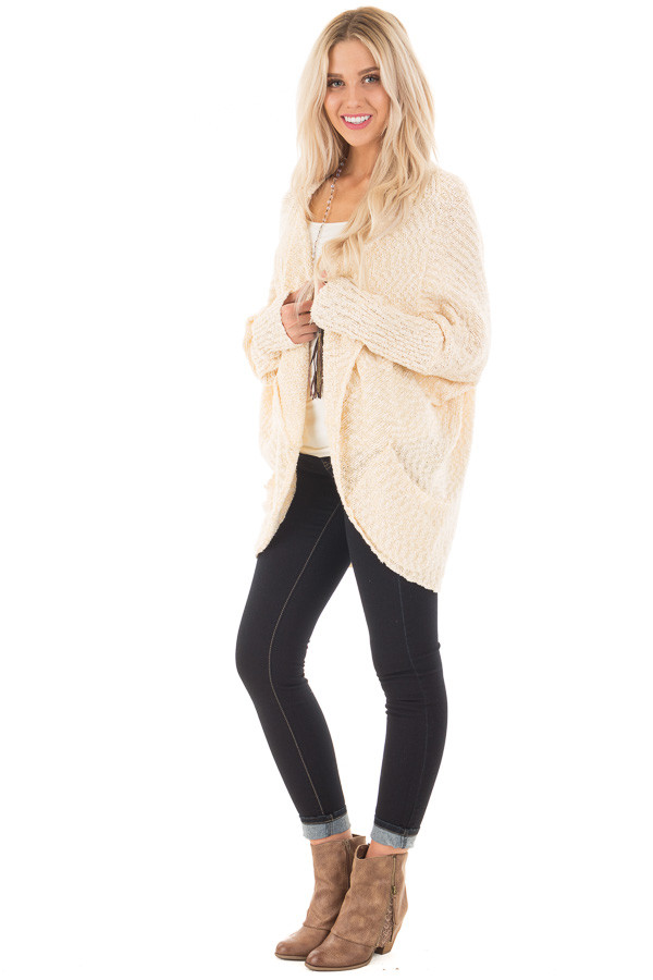 Cream Knit Cardigan with Dolman Sleeves and Pockets side full body