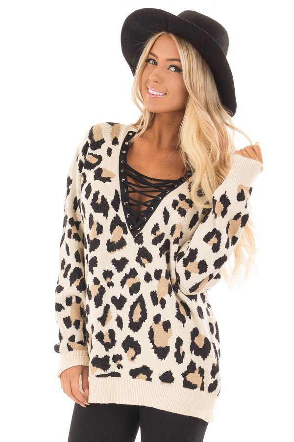 Leopard Print Strappy V Neck Sweater front close up