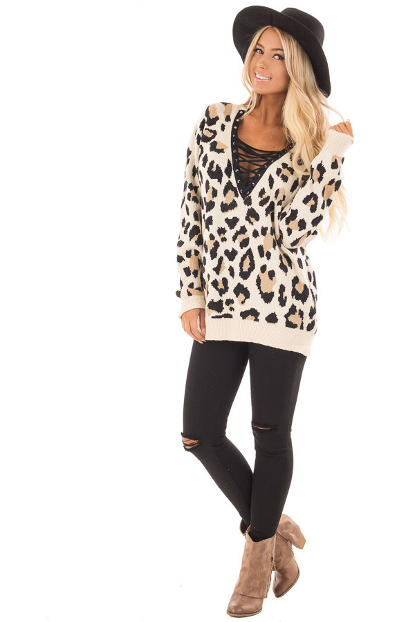 Leopard Print Strappy V Neck Sweater front full body