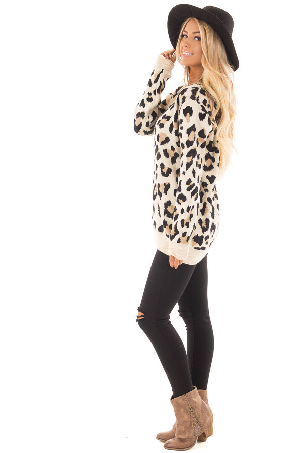 Leopard Print Strappy V Neck Sweater side full body