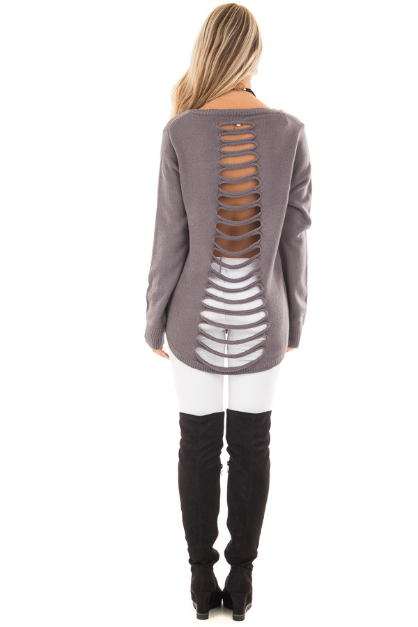 Charcoal Scoop Neckline Top with Laser Cut Out Back back full body