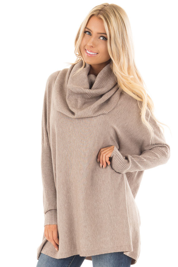 Mocha Super Soft Cowl Neck Long Sleeve Sweater front close up