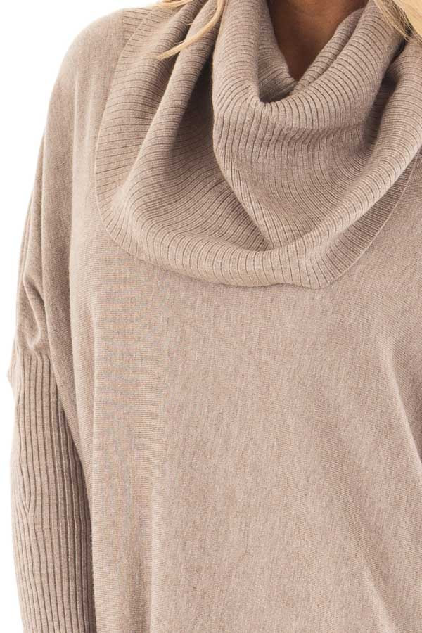 Mocha Super Soft Cowl Neck Long Sleeve Sweater detail