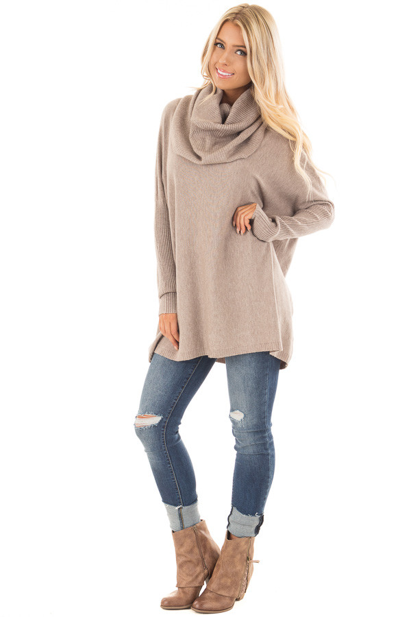 Mocha Super Soft Cowl Neck Long Sleeve Sweater front full body