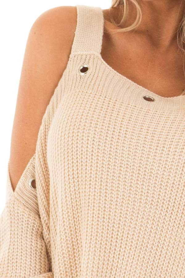 Tan Open Shoulder Long Sleeve Sweater with Eyelet Detail detail