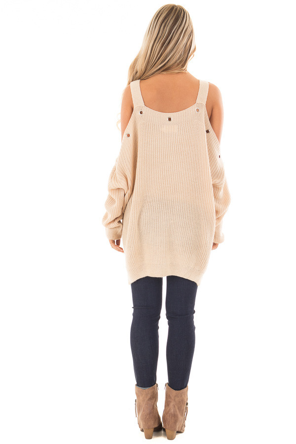 Tan Open Shoulder Long Sleeve Sweater with Eyelet Detail back full body