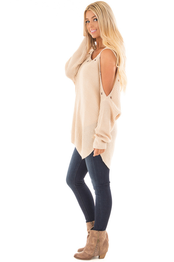 Tan Open Shoulder Long Sleeve Sweater with Eyelet Detail side full body