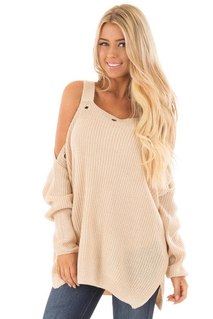 Tan Open Shoulder Long Sleeve Sweater with Eyelet Detail front close up