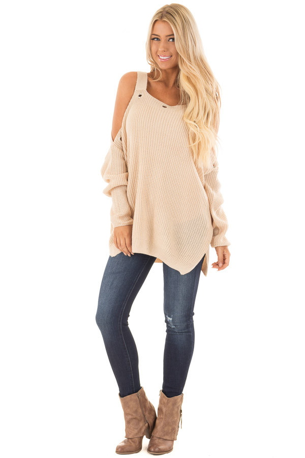 Tan Open Shoulder Long Sleeve Sweater with Eyelet Detail front full body