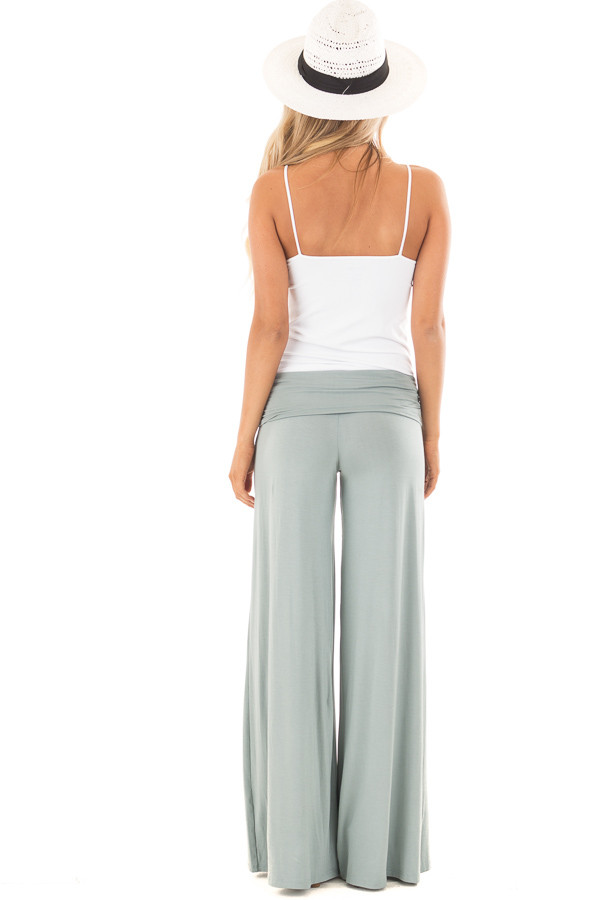 Pale Blue Sage High Waisted Bell Bottom Knit Pants back full body