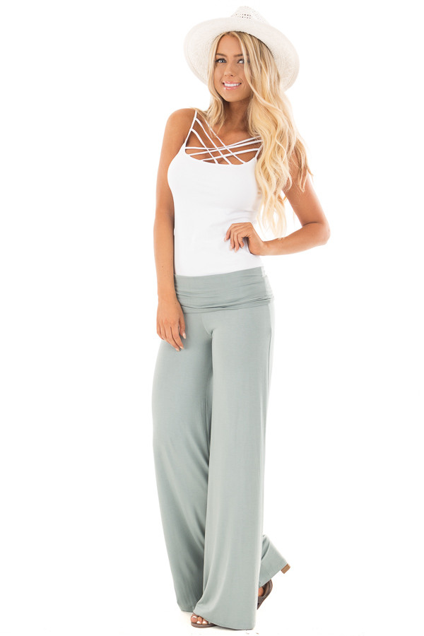 Pale Blue Sage High Waisted Bell Bottom Knit Pants front full body