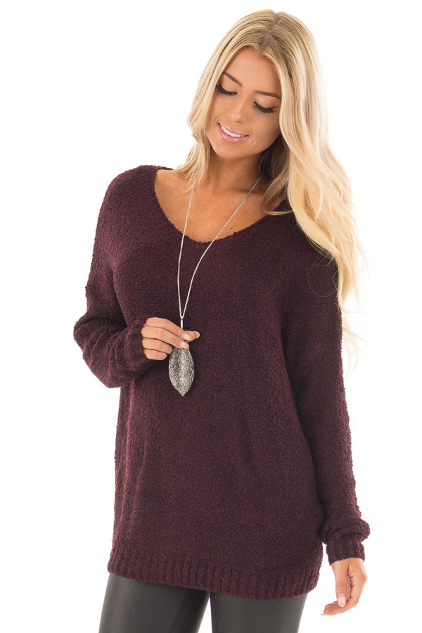 Dark Plum V Neck Long Sleeve Sweater front close up