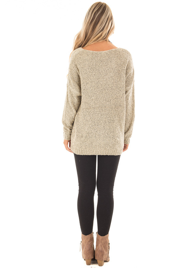 Taupe Two Tone V Neck Long Sleeve Sweater back full body