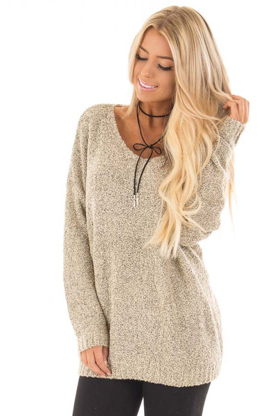Taupe Two Tone V Neck Long Sleeve Sweater front close up