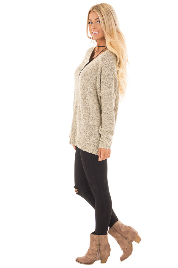 Taupe Two Tone V Neck Long Sleeve Sweater side full body