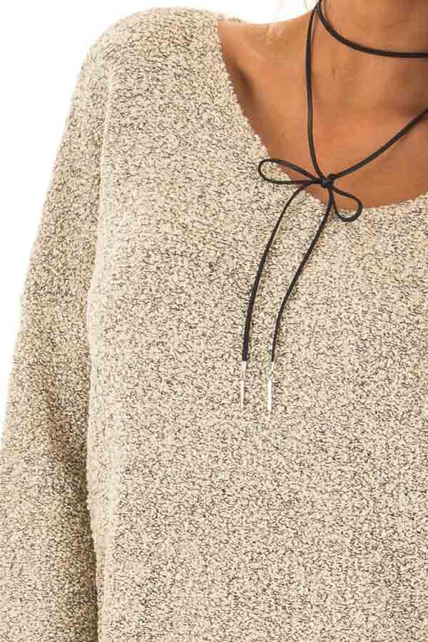 Taupe Two Tone V Neck Long Sleeve Sweater detail