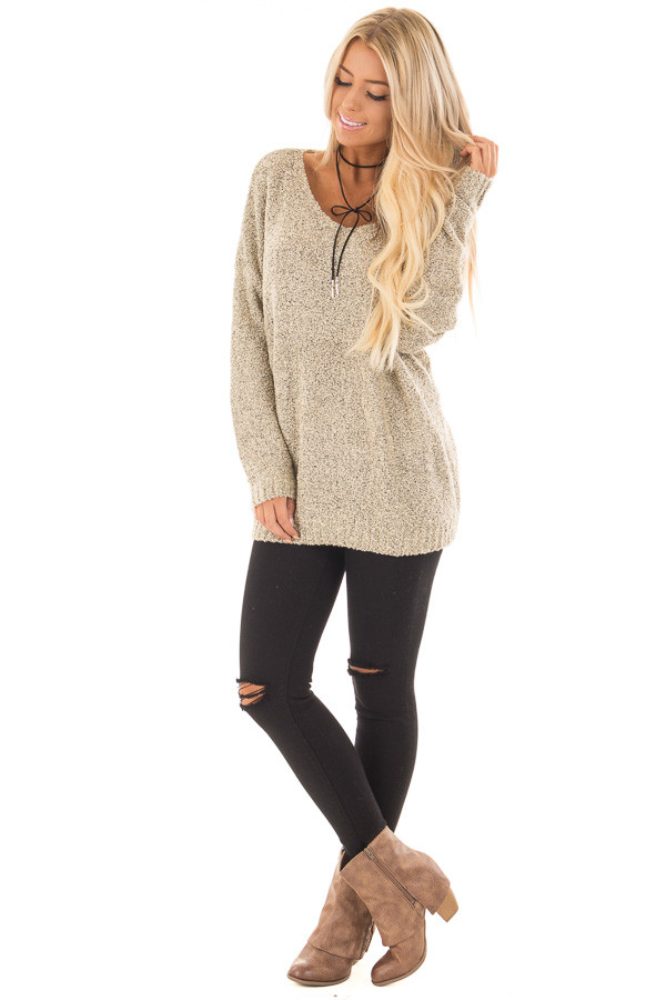 Taupe Two Tone V Neck Long Sleeve Sweater front full body