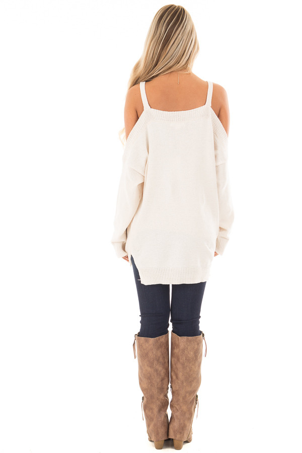 Ivory Soft Open Shoulder Long Sleeve Sweater back full body