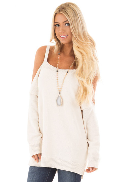 Ivory Soft Open Shoulder Long Sleeve Sweater front close up