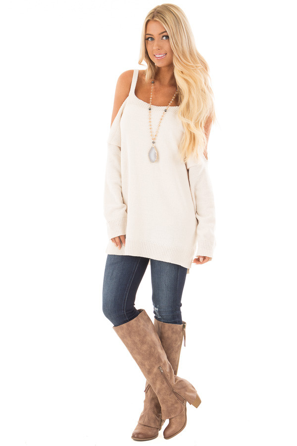 Ivory Soft Open Shoulder Long Sleeve Sweater front full body