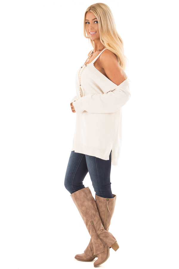 Ivory Soft Open Shoulder Long Sleeve Sweater side full body
