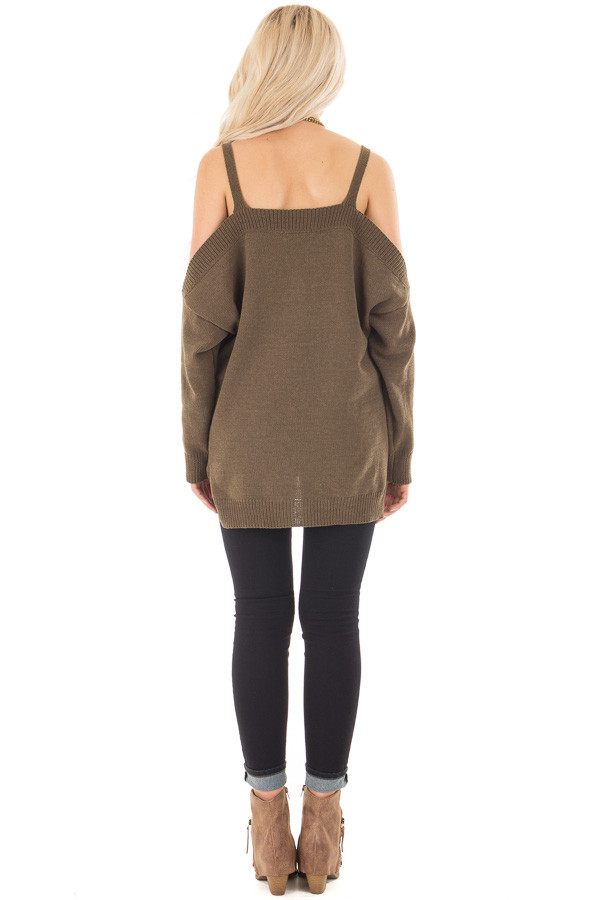 Olive Soft Open Shoulder Long Sleeve Sweater back full body