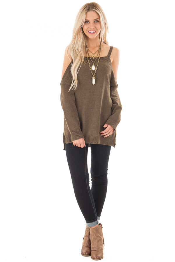 Olive Soft Open Shoulder Long Sleeve Sweater front full body