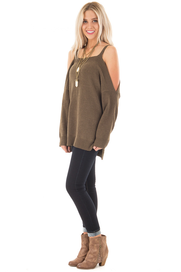 Olive Soft Open Shoulder Long Sleeve Sweater side full body