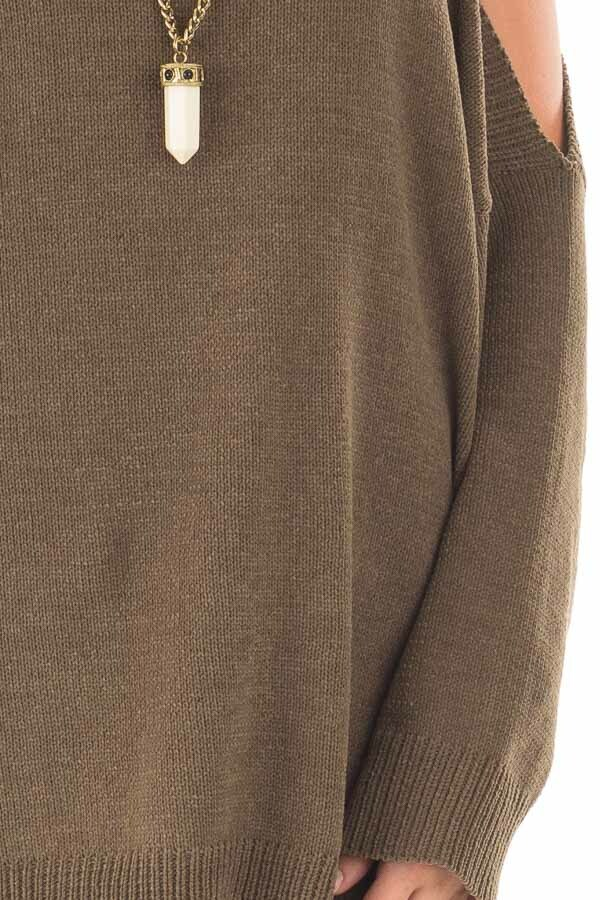 Olive Soft Open Shoulder Long Sleeve Sweater detail