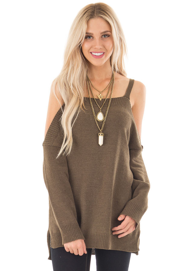Olive Soft Open Shoulder Long Sleeve Sweater front close up