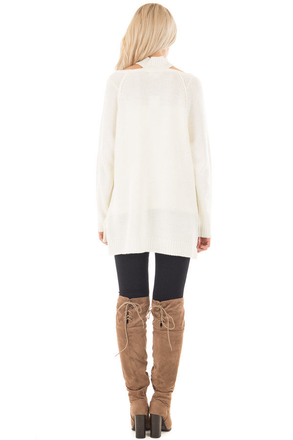 Off White Tunic Sweater with Cut Out Details back full body