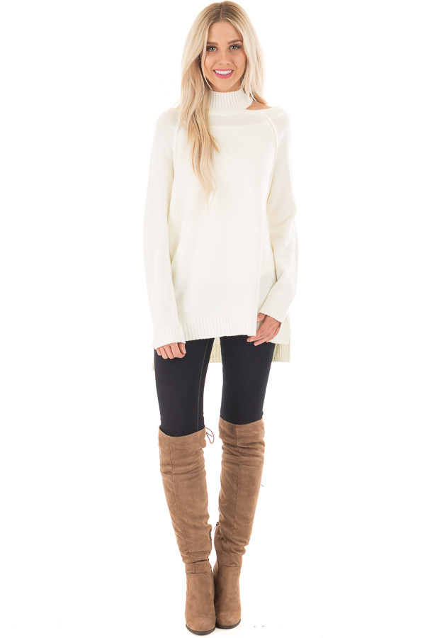 Off White Tunic Sweater with Cut Out Details | Lime Lush